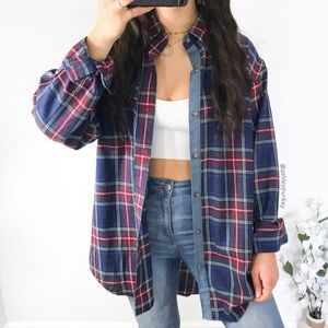 vintage blue red green yellow oversized flannel